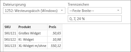 """– Feste Breite – Befehl """"Trennzeichen""""; 0, 7, 24 angegeben für Zeichenpositionen"""