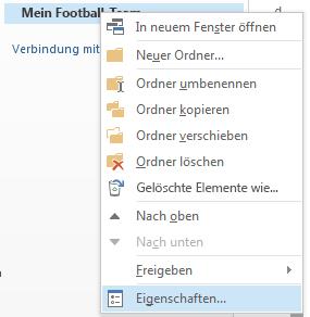 """Klicken Sie mit der rechten Maustaste auf den neuen Ordner, und klicken Sie dann auf """"Eigenschaften""""."""