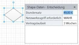 Ein Entscheidungs-Shape mit drei Shape-Feldern und entsprechenden Werten