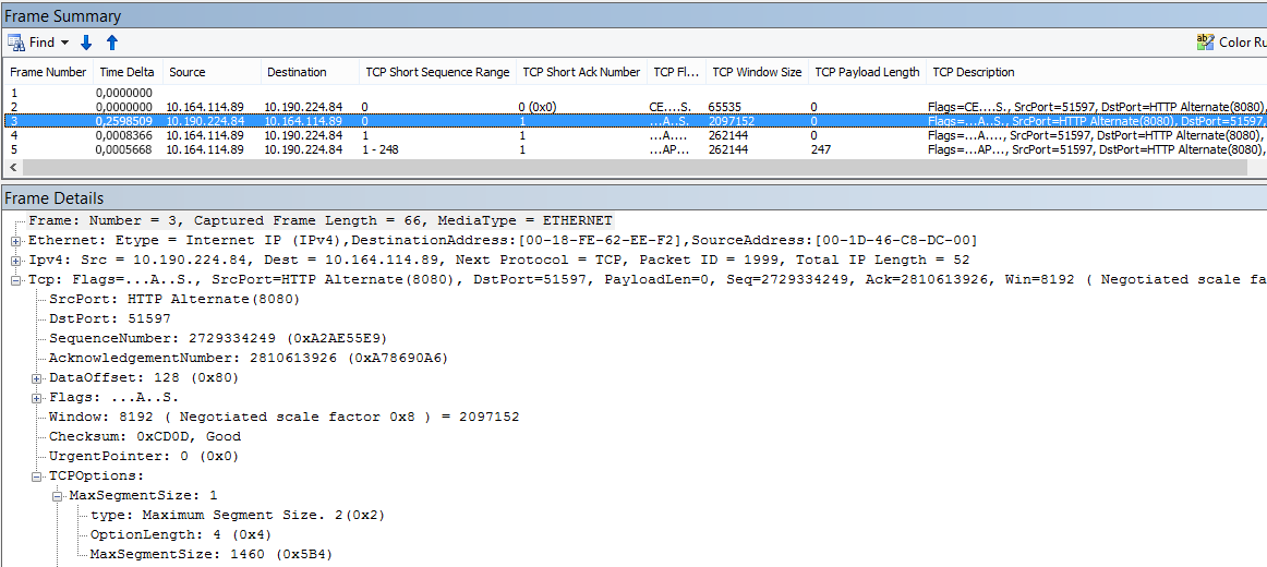 Netzwerkablaufverfolgung in Netmon, gefiltert mit den integrierten Spalten.