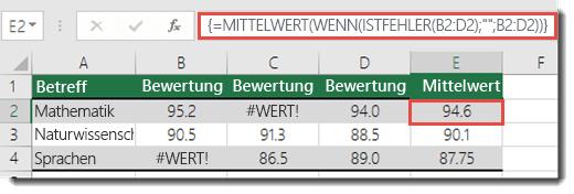 Matrixfunktion in MITTELWERT zum Beheben des #WERT!-Fehlers