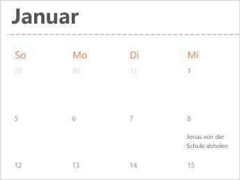 Kalendervorlage in Excel Online