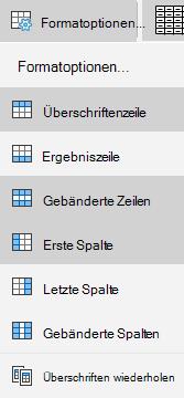 Optionen für Tabellenformatvorlagen für Mail für Windows 10