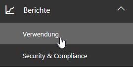 """Auf der Administratorseite """"Berichte"""" und dann auf der linken Navigationsleiste """"Verwendung"""" auswählen"""
