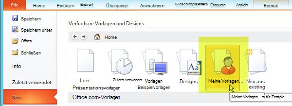 """Wählen Sie im Menüband auf der Registerkarte """"Datei"""" die Option """"Neu"""" aus, und wählen Sie dann die Schaltfläche """"Meine Vorlagen"""" aus."""