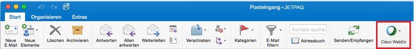 """Schaltfläche für Cisco WebEx auf der Registerkarte """"Start"""" im Menüband von Outlook 2016 für Mac"""