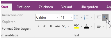 """Screenshot der Schaltfläche """"Einzug vergrößern"""" in OneNote2016"""