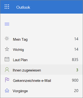 Screenshot der zugewiesenen Liste in Microsoft to do