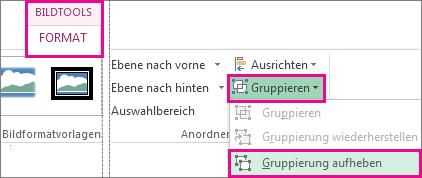 Schaltfläche 'Gruppierung aufheben' auf der Registerkarte 'Bildtools'
