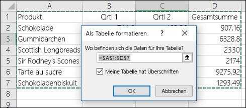 """Beispiel für ein Verwenden der Option """"Als Tabelle formatieren"""" auf der Registerkarte """"Start"""", um einen Datenbereich automatisch auszuwählen"""