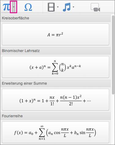 Integrierte Formeln