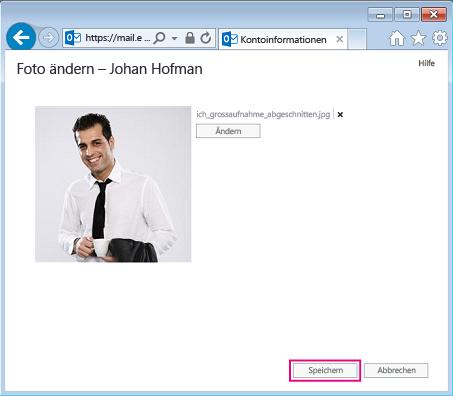 """Screenshot des Dialogfelds """"Bild ändern"""" mit hervorgehobener Option """"Speichern"""""""