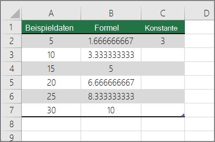 Ergebnis der Division von Zahlen durch Konstante