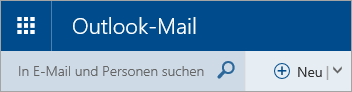 Screenshot der oberen linken Ecke des Posteingangs von Outlook.com (klassische Version)