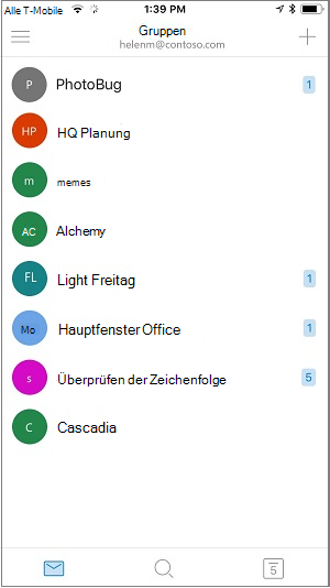 Startbildschirm der mobilen Gruppen-App