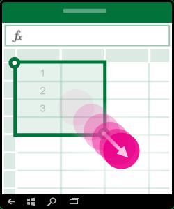 Grafik, die zeigt, wie mehrere Zellen markiert werden