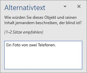 Ein Beispiel für einen schlechten Alternativtext in Word für Windows.