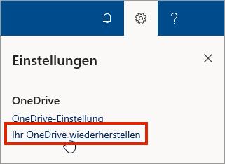 """Menü """"Einstellungen"""" für OneDrive for Business Online mit hervorgehobener Option """"Wiederherstellen"""""""