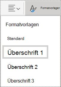 Optionen für Formatvorlagen für Überschriften in OneNote Online.