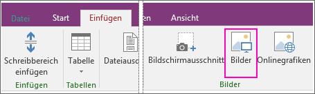 """Screenshot der Schaltfläche """"Bilder einfügen"""" in OneNote 2016"""
