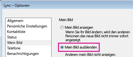 """Screenshot des Abschnitts im Optionsdialogfeld """"Mein Bild"""" mit aktivierter Option """"Mein Bild ausblenden"""""""