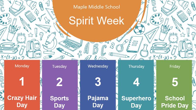 Screenshot eines Kalenders für eine School Spirit-Woche