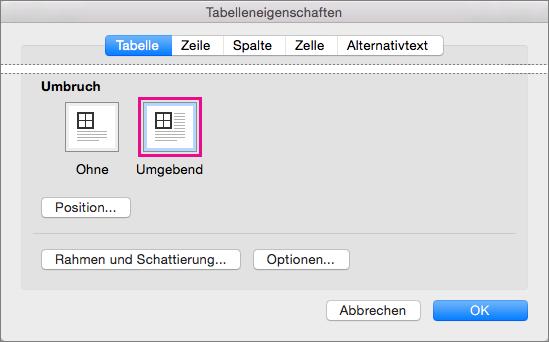 """Klicken Sie auf """"Umgebend"""", damit der Text die ausgewählte Tabelle umfließt."""