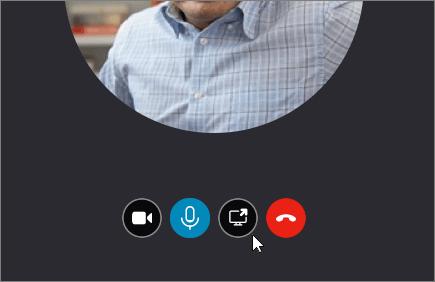 """Screenshot eines Anrufbildschirms mit dem Cursor auf der Schaltfläche """"Bildschirm freigeben""""."""