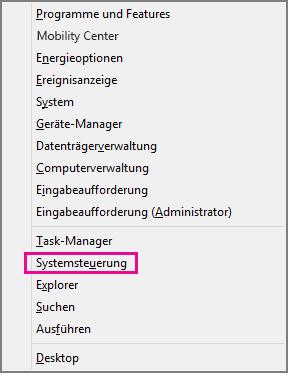 Office 2016 unter Windows 8 – Systemsteuerung