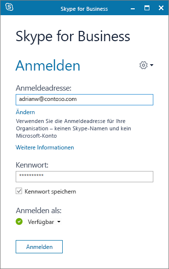 Screenshot des Anmeldebildschirms für Skype for Business