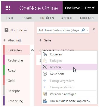 Screenshot zum Löschen einer Seite in OneNote Online