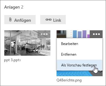 Festlegen einer anderen Datei als Aufgabenvorschau