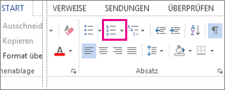 Die Schaltfläche 'Nummerierung' in der Gruppe 'Absatz' auf der Registerkarte 'Start'