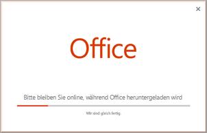 Fortschritt der Installation der Office-App.