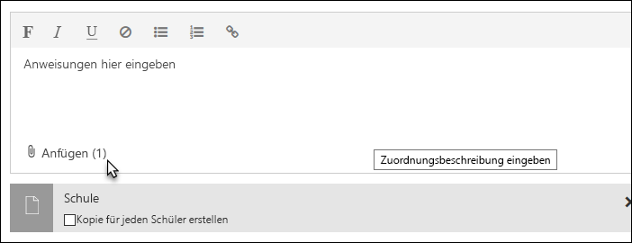 Klicken Sie auf 'Anfügen', um eine Datei, einen Link oder ein OneNote-Kursnotizbuch anzufügen