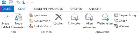 So sieht das Menüband von Outlook auf dem Desktop aus.