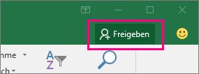 """Zeigt das Symbol """"Freigeben"""" im Menüband in Excel 2016 für Windows"""
