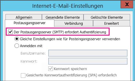 """Wählen Sie """"Der Postausgangsserver erfordert Authentifizierung"""" aus."""