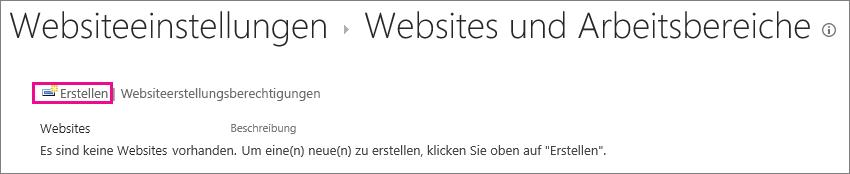 """Der Links zum Erstellen von Websites im Dialogfeld """"Websites und Arbeitsbereiche"""""""