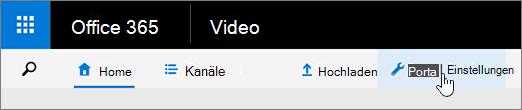 Video-Portal-Menü mit ausgewählten Portal-Einstellungen