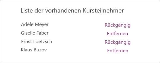 Die Namen entfernter Kursteilnehmer sind in der Liste der vorhandenen Studenten durchgestrichen, und neben jedem Namen ist eine Option zum Rückgängigmachen bzw. Entfernen angegeben.