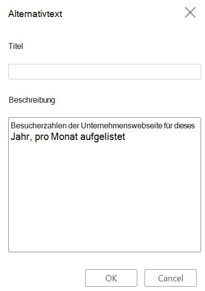 """Dialogfeld """"Alternativtext"""" in Word für das Web."""