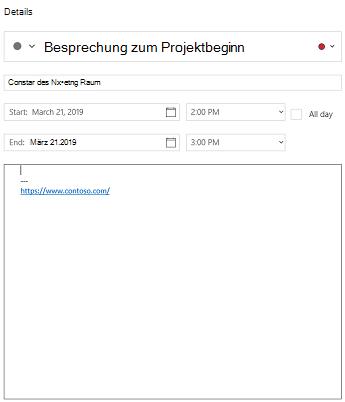 Kalender für Windows 10-Ereignisdetail Ansicht