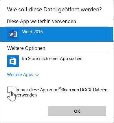"""Windows-Dialogfeld """"Öffnen mit"""""""