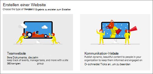 Auswahl von zwei Vorlagen auf oberster Ebene, Team oder Kommunikation Website.