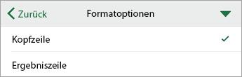 """Befehl """"Formatoptionen"""" mit ausgewählter Option """"Überschrift"""""""