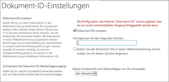 Zuweisen von Dokument-IDs in der der Seite Dokument-ID-Einstellungen