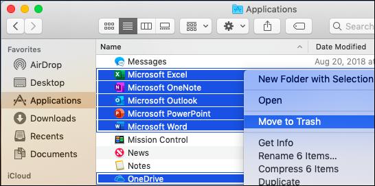 Verschieben der Office-Apps in den Papierkorb