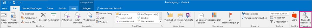 """Outlook 2016-Menüband mit hervorgehobener Schaltfläche """"Nachricht übersetzen"""""""