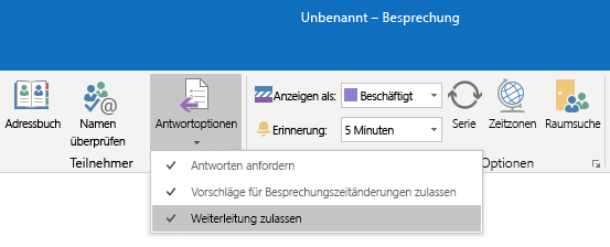 "Option ""Weiterleiten zulassen"" in Outlook"
